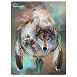 HommomH 60″ x 80″ Blanket Comfort Warmth Soft Cozy Air conditioning Easy Care Machine Wash Cool Wolf Dream Catcher