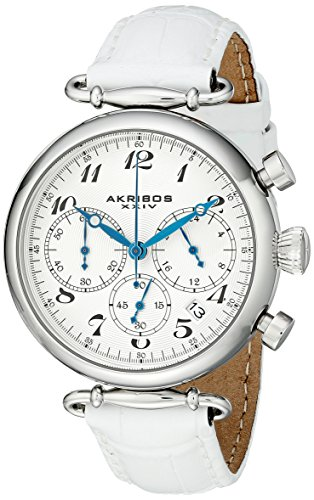 Akribos XXIV Women's AK630SSW Retro Silver-Tone Stainless Steel White Leather Strap Watch