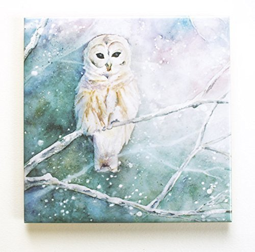 Owl Tile (Winter Owl Art Tile Trivet Original Watercolor Decorative Tile)
