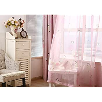 LQF Sheer Curtains Country Home Decor Pink For Bedroom Living Room Dining Teens Kids