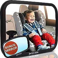 COZY GREENS Espejo de coche para bebé | Crash Tested, Stable, Shatterproof | Garantía de satisfacción del 100% de por vida | Acabado Mate | Espejo para bebé con visión amplia y clara para el asiento trasero | Espejos de asiento de automóvil orientados