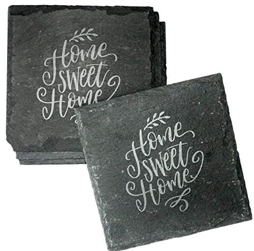 Slate Etched (Housewarming Gift Etched Slate Coasters Set of 4 - Home Sweet Home Absorbent Drink Coasters - CSL46)