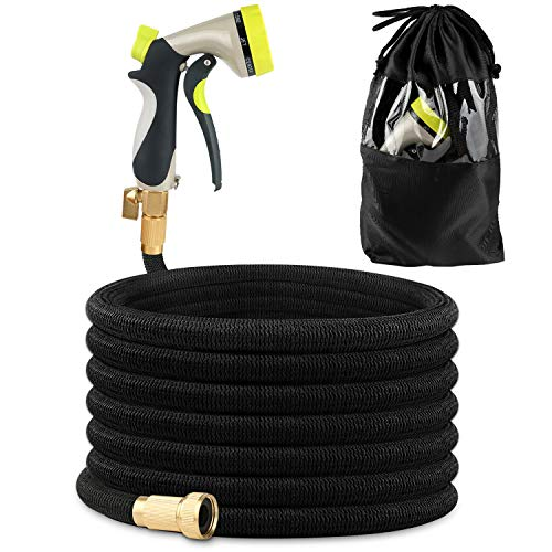 IEKA 25FT Expandable Garden Hose, Strongest Expandable Water Hose, Double Latex Core,Extra Flexible Stretch with Brass Connectors and 8 Function Spray Nozzle Fittings (Black)