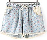 Women Casual Denim Shorts with Elastic High Waist Floral Star Printed for Crop Top,Style 5,M