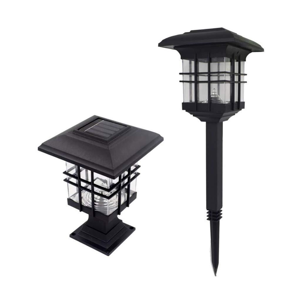 YaXuan Solar Lights, Solar Pillar Lampe Outdoor Ground Light Waterproof Decorative Wall Lampen-Saltenspitze Säule Rasenmarke,1