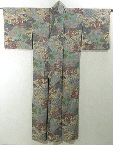 リサイクル 着物 小紋 裂取りに古典文様 正絹 袷 裄63cm 身丈157cm