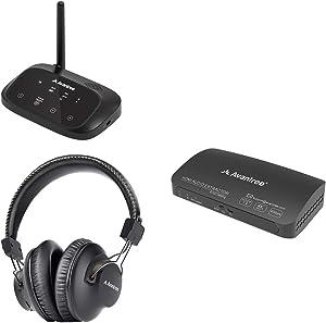 Avantree HT5009HAX03 0 Hrs Wireless Headphones for TV Watching w/Bluetooth Transmitter 164ft Long Range & 4K@30Hz 2160P HDMI Audio Extractor Splitter Converter