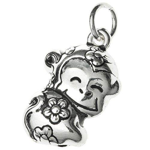 Dreambell Antique .925 Sterling Silver Chinese Zodiac Year Animal Monkey Dangle Charm Pendant