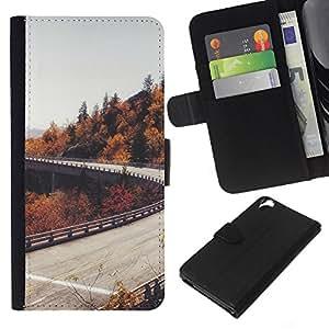 KLONGSHOP // Tirón de la caja Cartera de cuero con ranuras para tarjetas - Camino del otoño Árboles Gris Cielo - HTC Desire 820 //