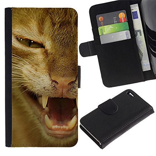 LASTONE PHONE CASE / Lujo Billetera de Cuero Caso del tirón Titular de la tarjeta Flip Carcasa Funda para Apple Iphone 4 / 4S / Orange Shorthair American Cat Hissing