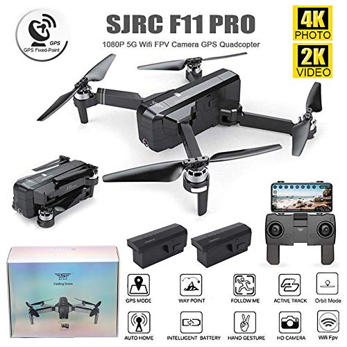 SJRC F11 PRO Folding Drone 4K Photo 2K Video iOS Android App Operation Quadcopter 1-Key RTH Altitude Hold Track Flight Headless Brushless Motor Adjustable Camera Angle (F11 PRO + 2 Battery)