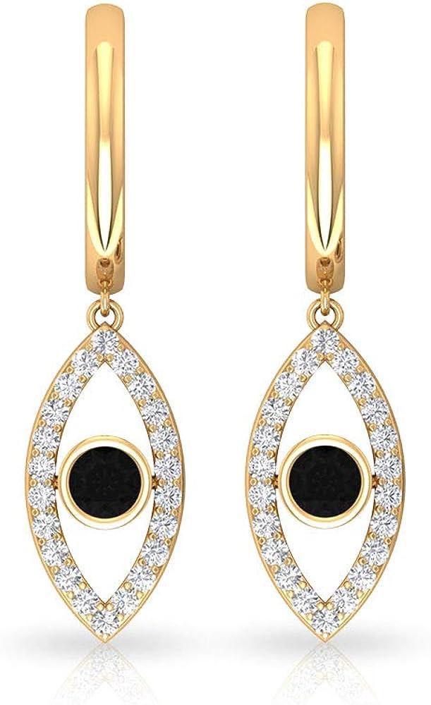 Pendiente de aro único con diseño de gota de ojo, certificado IGI, con diamantes negros, para dama de honor, IJ-SI, claridad de color, pendiente de declaración de pila, con clip.