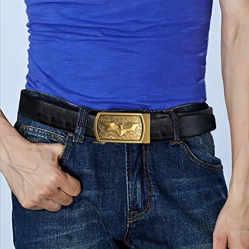 Dubulle Mens Italian Genuine Leather Belt with Removable Buckle Adjustable Automatic Buckle Belt Black Ratchet Belt for Men (DK-1004, waist size 42'' to 47'', belt 55''(140cm)) by Dubulle (Image #4)