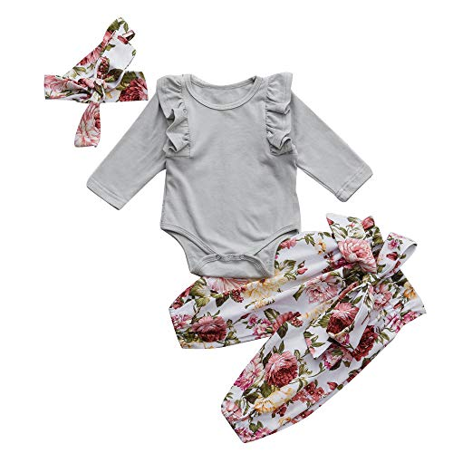 (Infant Baby Girls G-Real Ruched Romper Jumpsuit+Floral Print Pants Outfits Gray)