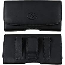 Horizontal Premium Leather Carrying Case Pouch Holster with Magnetic Closure Belt Clip & Belt Loop For LG Optimus Zip/C195/Georgia/Mach (Plus Size will Fit to Phones with Thick Protective Cover on)