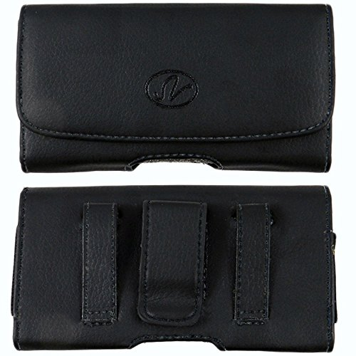 Horizontal Premium Leather Carrying Case Pouch Holster with Magnetic Closure Belt Clip & Belt Loop for BlackBerry Curve 8520/Torch 9810 (Plus Size Will Fit to Phones with Thick Protective Cover on)