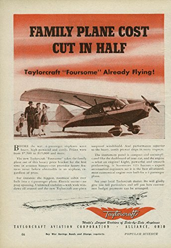 Family Plane Cost Cut in Half Taylorcraft Private Plane ad 1945 (Plane Half)