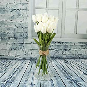 Vlovelife 20 Heads Artificial Flowers Real Touch Tulips in White Wedding Bouquets Flowers Fake Tulips PU Tulips Flowers Arrangement Bouquet Home Room Centerpiece Party Wedding Decor 15