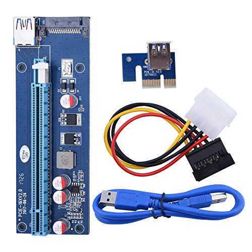 20PACK Sopolar USB3.0 PCI-E PCI Express 1X to 16X Riser Card Adapter with 15pin SATA Power Slot Connector by Sipolar (Image #7)