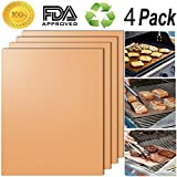 Copper Grill Mat Set Of 4 - 100% Non-stick Reusable BBQ Grill Mats - As Seen On TV - Easy To Clean - Works Great for Cooking On Gas, Charcoal, and Electric Grills - 1575 x 13 Inch