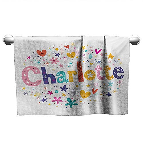 alisoso Charlotte,Tea Towel Happy Smiling Stars and Hearts Joyous Composition of Colorful Female Name Design Machine Washable Multicolor W 28