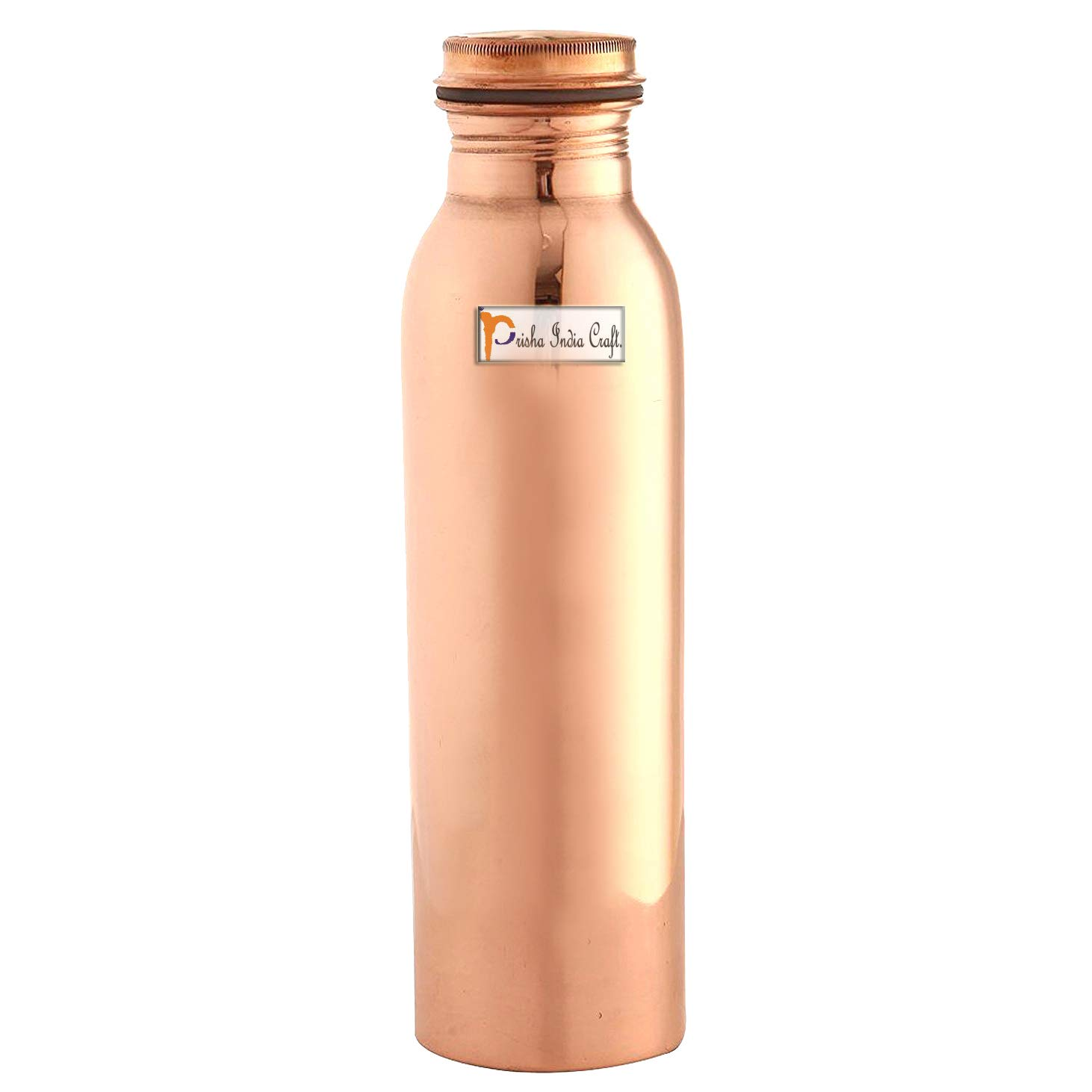 Prisha India Craft Pure Copper Water Bottle Thermos Design , Drinking Water , Solid Copper Without Joint 20 Ounce