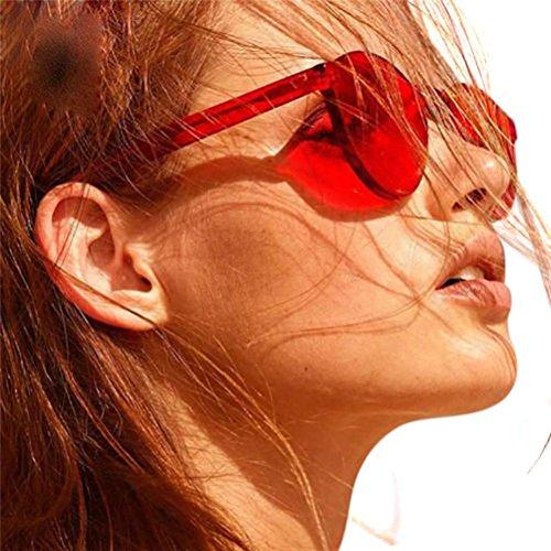 Occhiali da Sole Color Caramelle da Donna,NINGSUN Moda Femminile Occhiali da Sole Cat Eye Occhiali da Sole Integrati con Cristalli Colorati Vintage Sunglasses UV400 Rosso