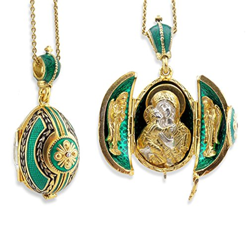- Religious Gifts Emerald Egg Pendant Madonna Child Icon Silver Gold Tone 1 1/2 Inches
