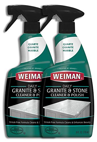 Weiman Granite Cleaner and Polish - 24 Ounce (2 Pack) for Granite Marble Soapstone Quartz Quartzite Slate Limestone Corian Laminate Tile Countertop (Best Granite Polish And Sealer)