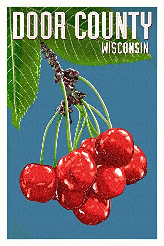 - Door County, Wisconsin - Cherry Letterpress - Filtered 97796 (16x24 Giclee Gallery Print, Wall Decor Travel Poster)