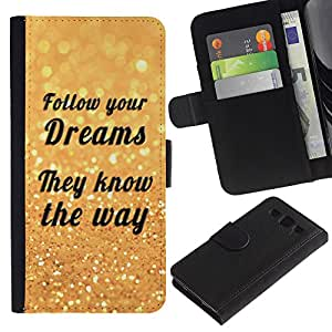 """SAMSUNG Galaxy S3 III / i9300 / i747 , la tarjeta de Crédito Slots PU Funda de cuero Monedero caso cubierta de piel ("""" Follow Your Dreams Way Quote Motivational"""")"""