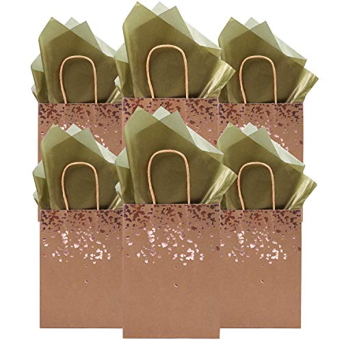 Cooraby 12 Pieces Bronzing Paper Bags Party Kraft Bag Bride Gift Birthday Bag Hen Party Bags Wedding Celebrations Bags with 12 Sheets Tissue Paper for Party Favour
