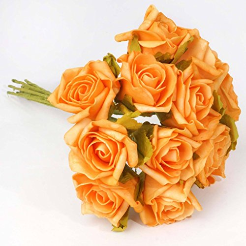 BalsaCircle 72 Orange Silk Blooming Rose Bouquets - 6 bushes - Artificial Flowers Wedding Party Centerpieces Arrangements Bouquets