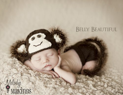 Monkey Hat and Diaper Cover Set Knitting Pattern - 6 Sizes Included