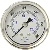 PIC Gauge 202L-158H 1.5'' Dial, 0/300 psi Range, 1/8'' Male NPT Connection Size, Center Back Mount Glycerine Filled Pressure Gauge with a Stainless Steel Case, Brass Internals, Stainless Steel Bezel, and Polycarbonate Lens
