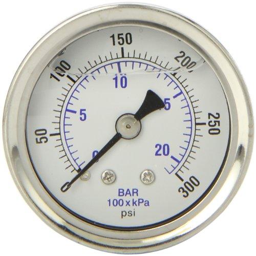 Back Mount Pressure Gauge (PIC Gauge 202L-158H Glycerin Filled Industrial Center Back Mount Pressure Gauge with Stainless Steel Case, Brass Internals, Plastic Lens, 1-1/2