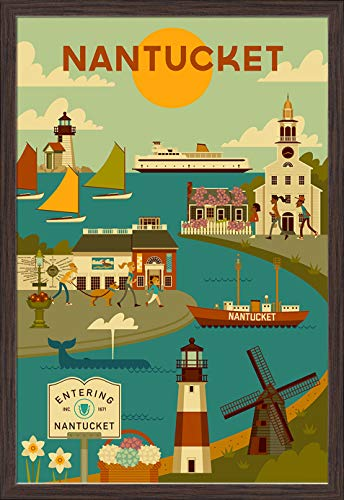 Nantucket - Geometric 97868 (24x36 Giclee Art Print, Gallery Framed, Espresso Wood)