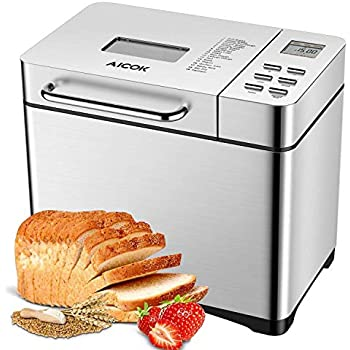 Aicok Stainless Steel Bread Machine, 2LB 19-in-1 Programmable XL Bread Maker with Fruit Nut Dispenser, Nonstick Ceramic Pan, 3 Loaf Sizes & 3 Crust ...