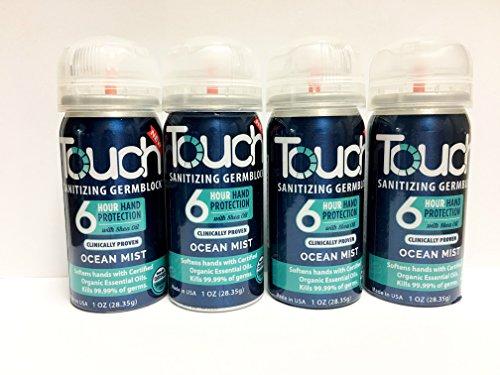 Touch Sanitizing Germ Block Hand Sanitizer Spray with Essential Oils, Hand Sanitizer Travel Size Portable Dispenser (Ocean Mist) (Touch Spray Scent)