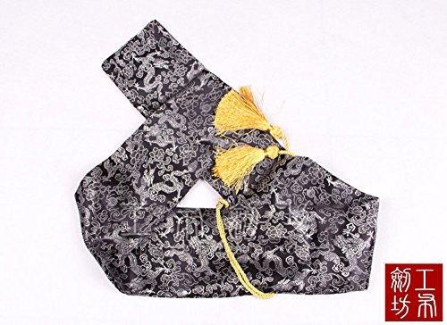 51'' Japanese Samurai Sword Katana Soft Case Sword Bag Yellow Tassel Cloud Dragon Black by jiaoguo