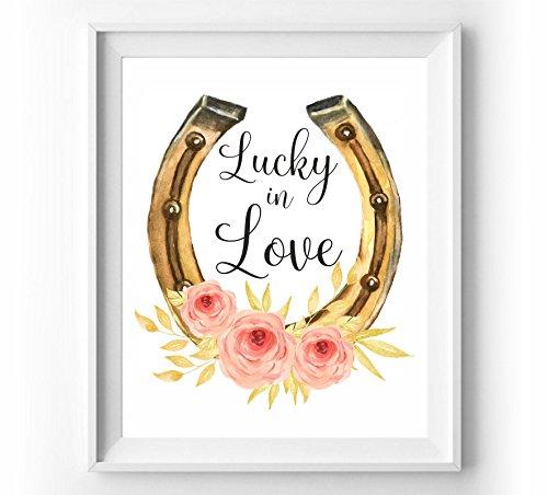 Lucky in love print Horseshoe art watercolor print Bridal shower gift Wedding wall art Wedding quotes printable Wedding gift for (Bridal Horseshoe)