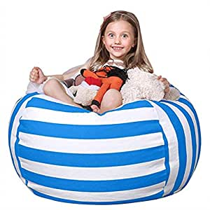 FLORICA Stuffed Animal Storage Bean Bag Kids Bean Bag Chair Plush Toy Organizer Stuffed Storage Bag Cotton Extra Large (Blue&White Stripes)