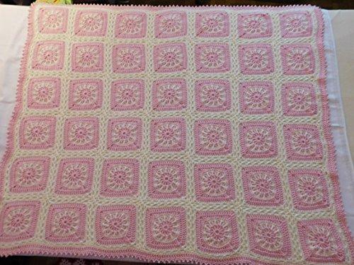 Hand Crocheted Baby Afghan, Throw, Blanket, Pink, White, Original Pattern