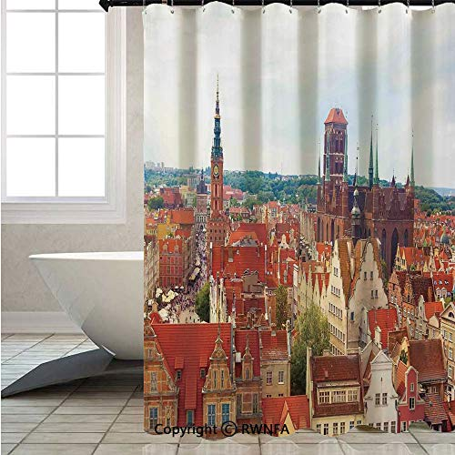 RWNFA Fabric Shower Curtain,Cityscape-of-Nostalgic-Town-Old-Polish-City-with-Castle-and-Tower-Europe-Culture,W72xL72inch,Thick Bathroom Shower Curtains,Multi