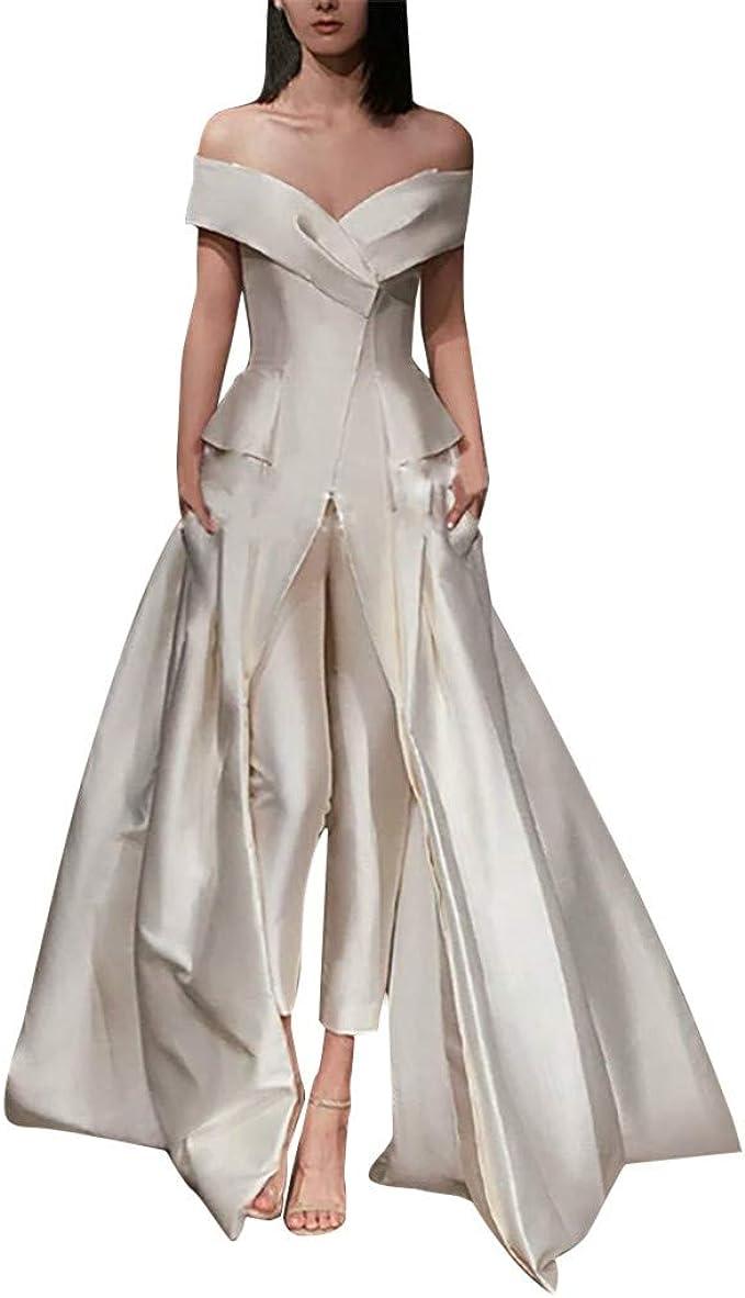 MAYOGO Abendkleider Damen Weiß Off Shoulder Ballkleid Bodenlang