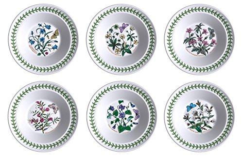 Portmeirion Botanic Garden Oatmeal/Soup Bowls, Set of 6 Assorted Motifs