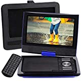 SUNPIN 11' Portable DVD Player with 9.5 inch HD Swivel Screen, Dual Earphone Jack, Supports SD Card/USB/CD/DVD and Multiple Disc Formats, Headrest Mount Holder, Car Charger, Power Adaptor (Blue)