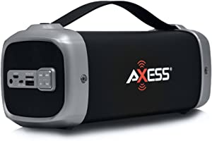 AXESS SPBT1074 Portable Indoor/Outdoor Bluetooth Media Speaker with Built-In FM Radio Rechargeable Battery and Subwoofer Silver