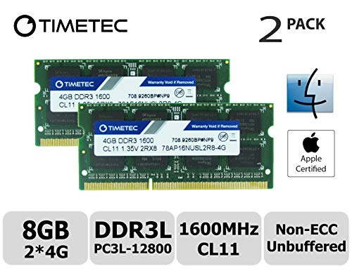 Timetec Hynix IC Apple 8GB Kit (2x4GB) DDR3L 1600MHz PC3L-12800 SODIMM Memory Upgrade MacBook Pro 13-inch/15-inch Mid 2012, iMac 21.5-inch Late 2012/Early 2013 (Low Density 8GB Kit (Apple Imac Computer Ram)