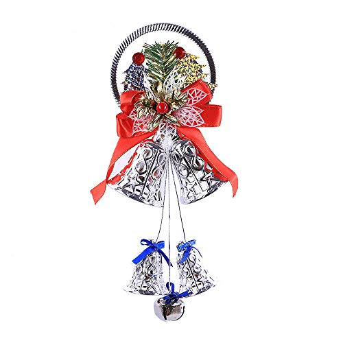 Hot Sale!DEESEE(TM)Christmas Bell Hanging Ornaments Wooden Santa Claus Xmas Tree Pendant Decor (Sliver)